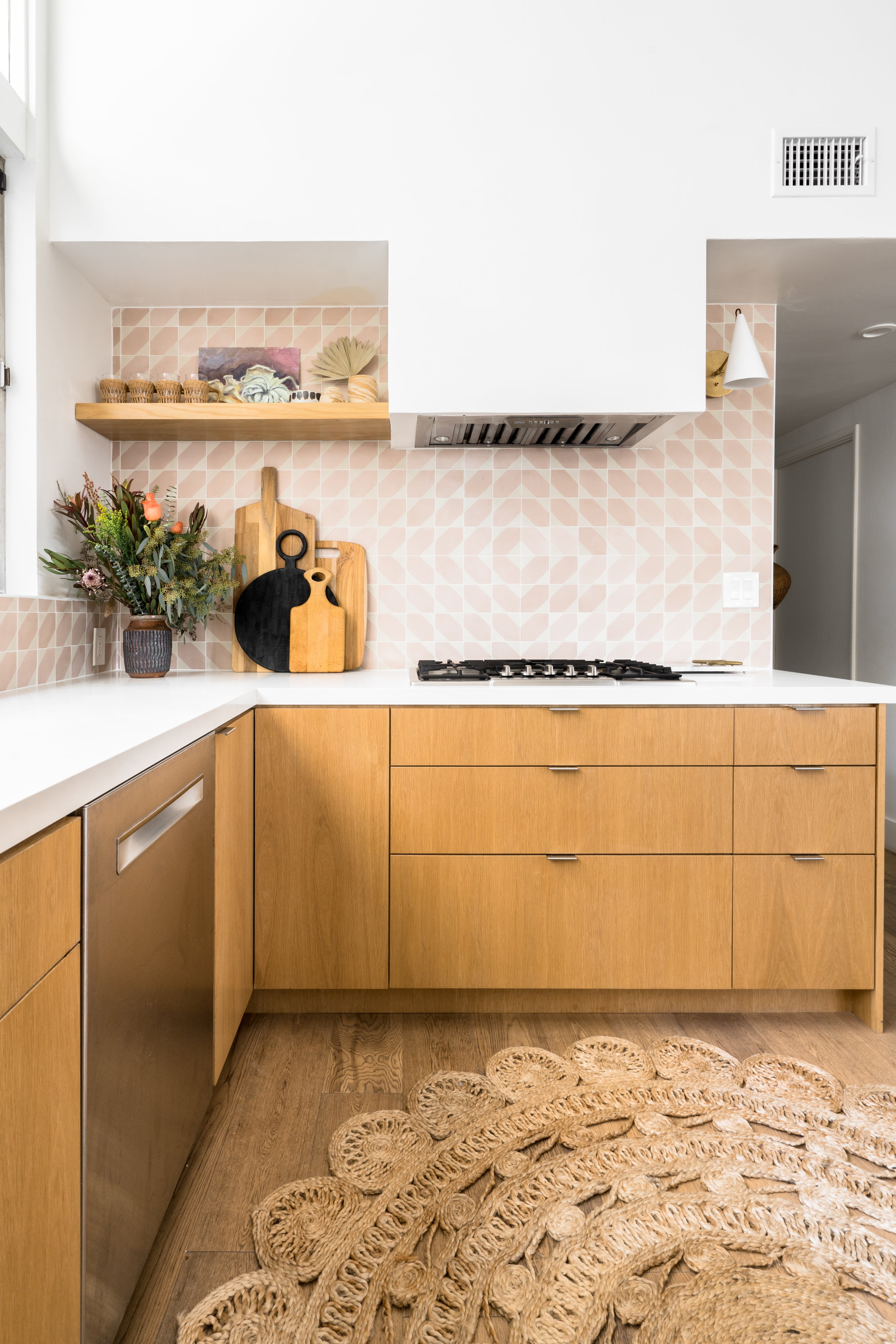 Kitchen with pink tile