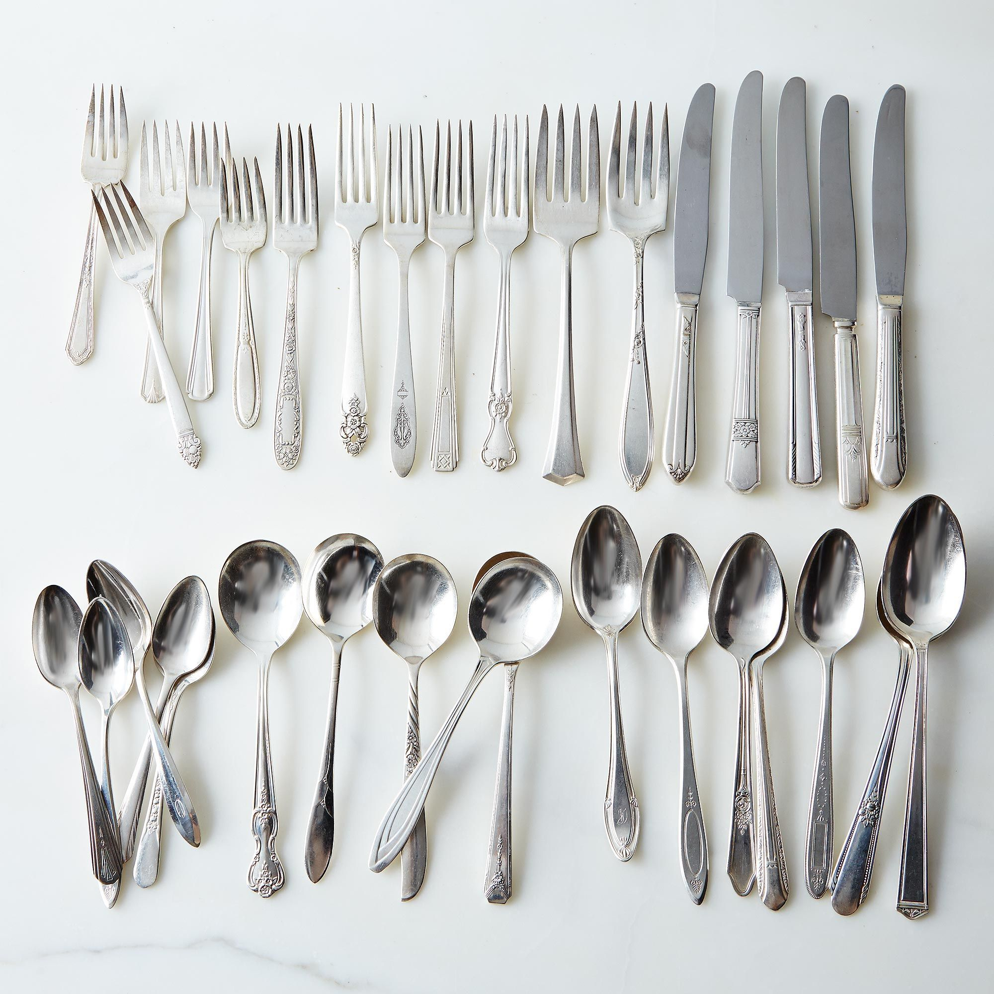 Vintage Silver-Plated Eclectic Flatware (Sets of 4)