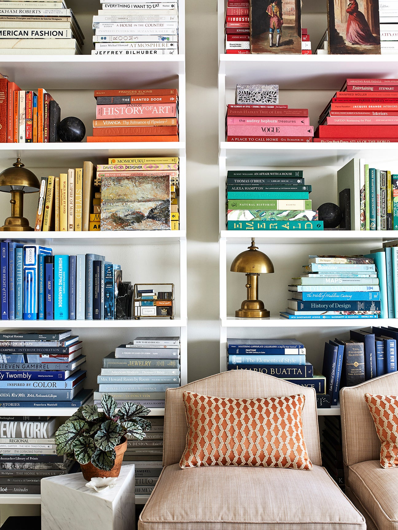 color coordinated books on a shelf