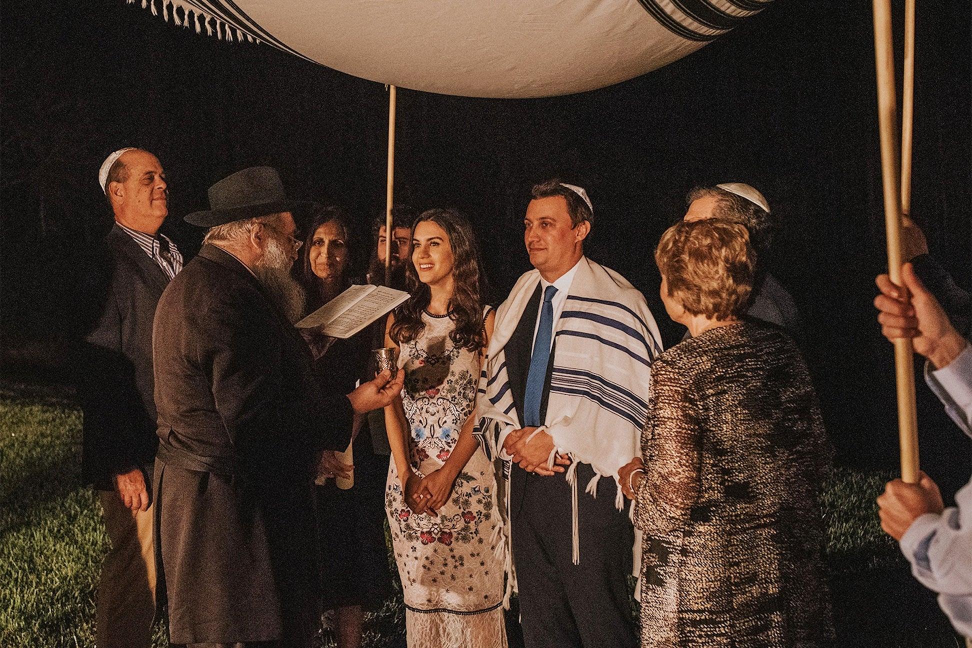 Jewish ceremony under a huppah