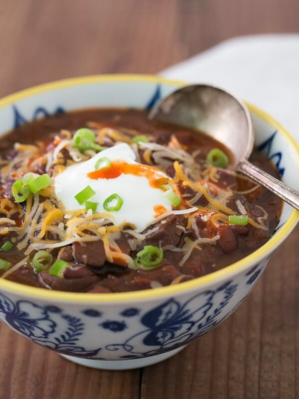 brown chili with sour cream
