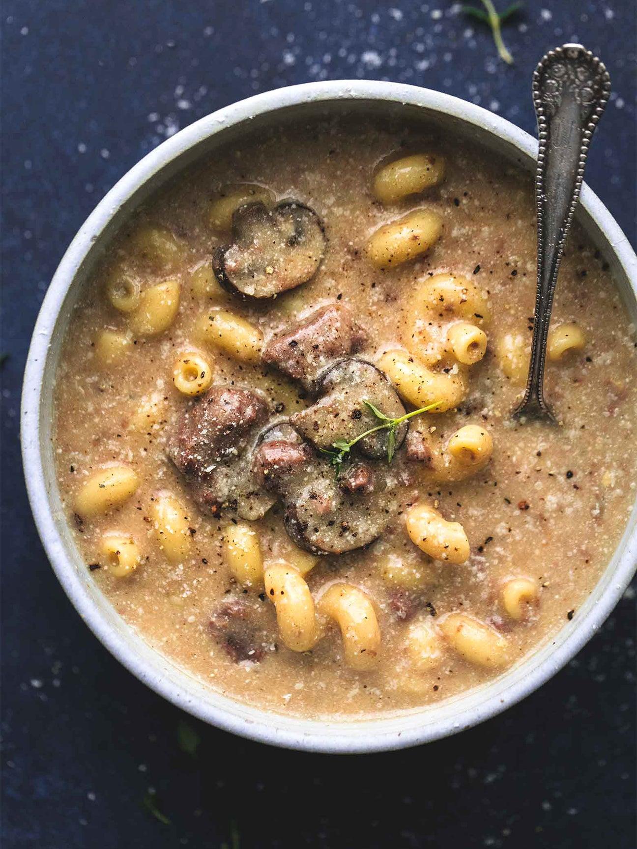 mushroom soup with big noodles