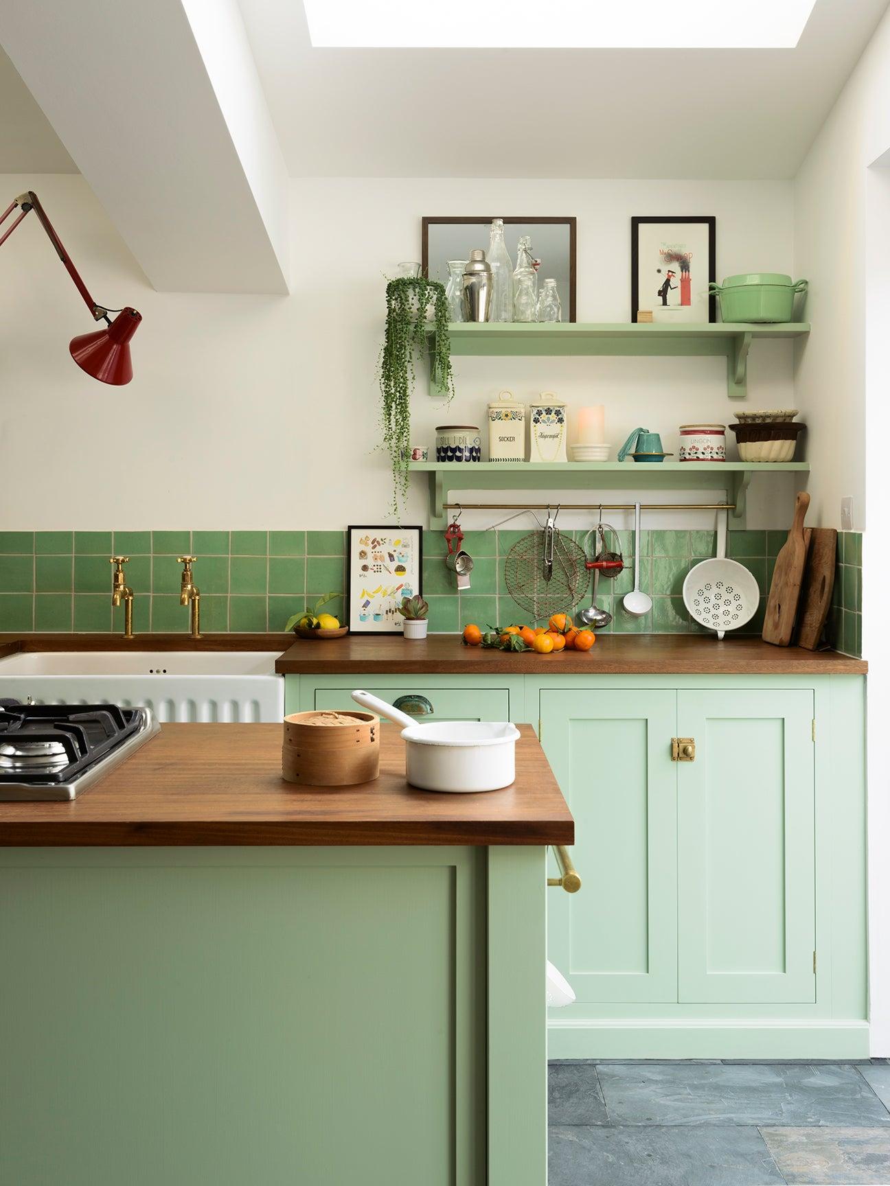 green mint kitchen cabinets
