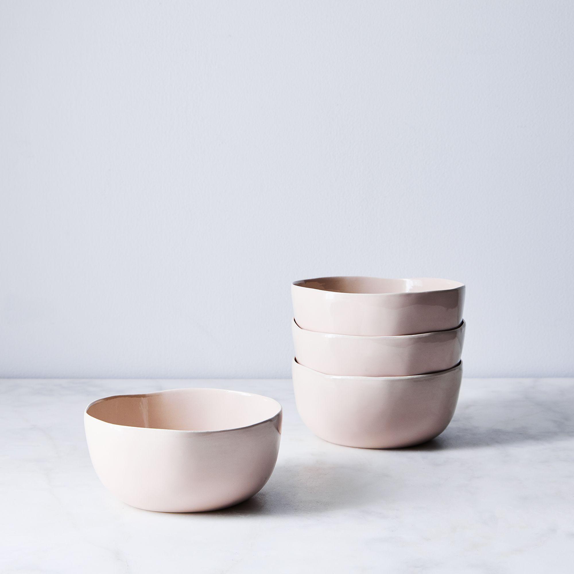 set of 4 blush pink ceramic bowls