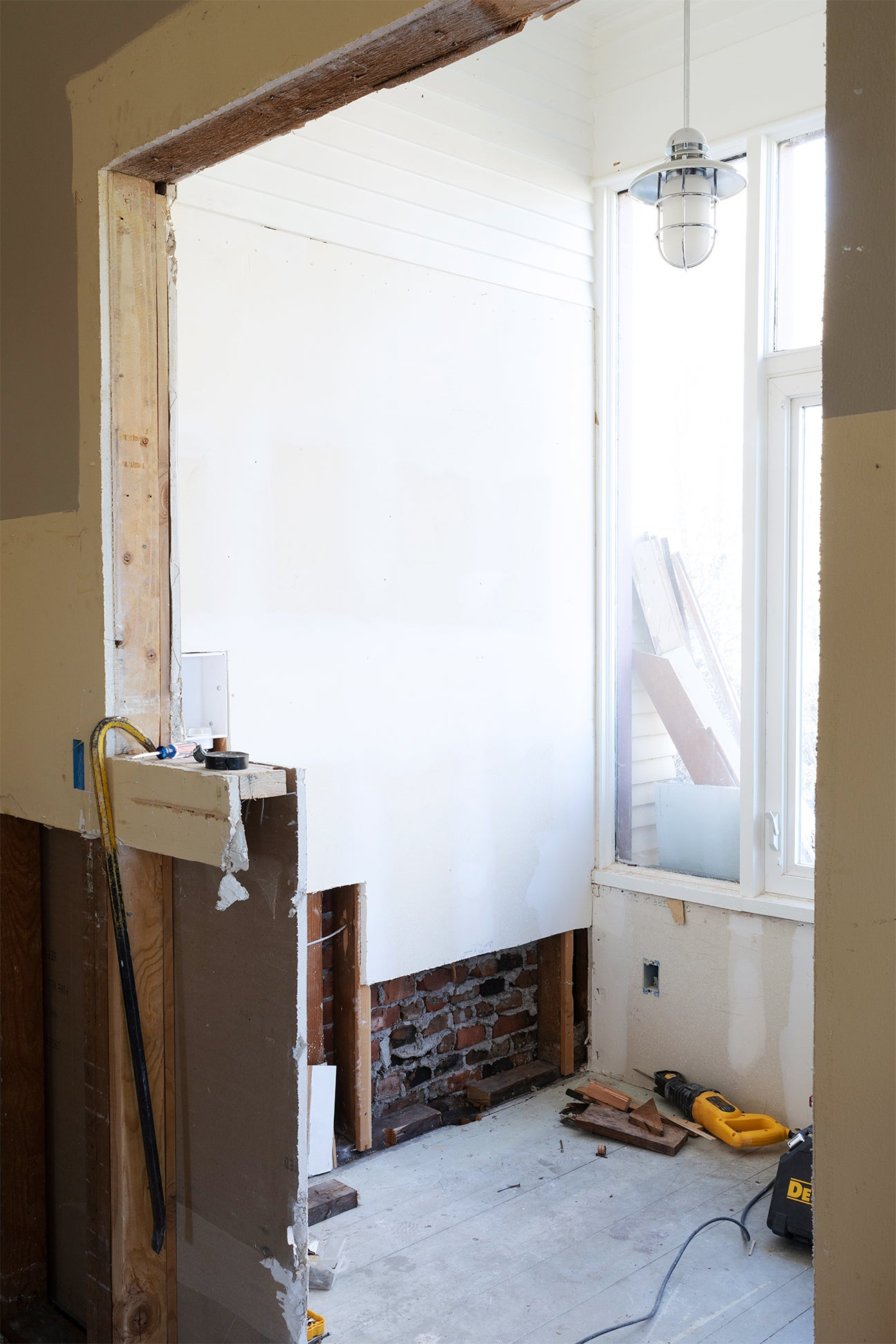 before shot of wall going up
