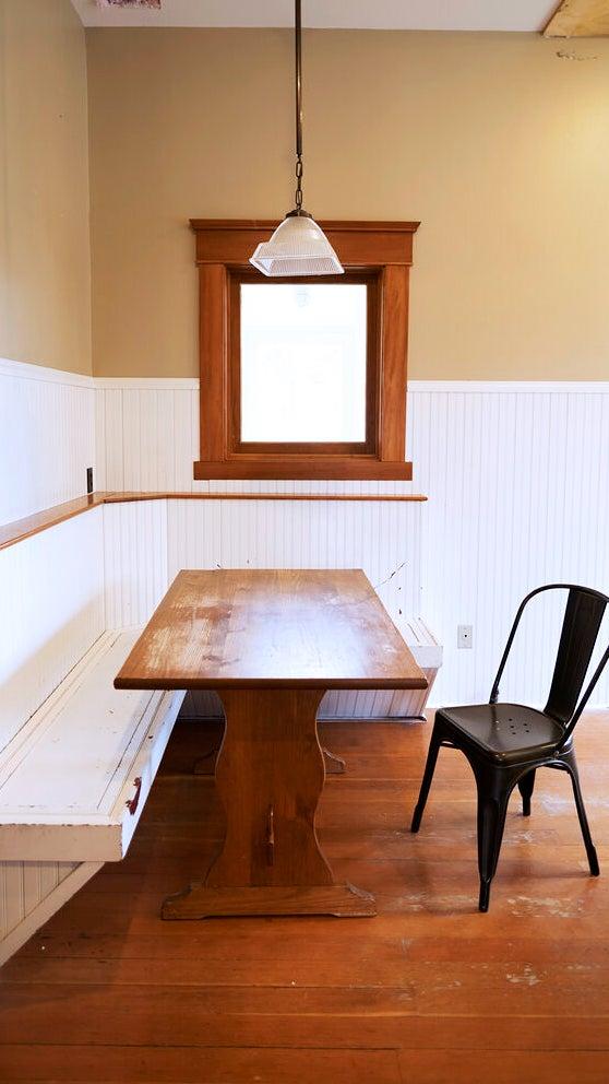 kitchen banquette with interior window