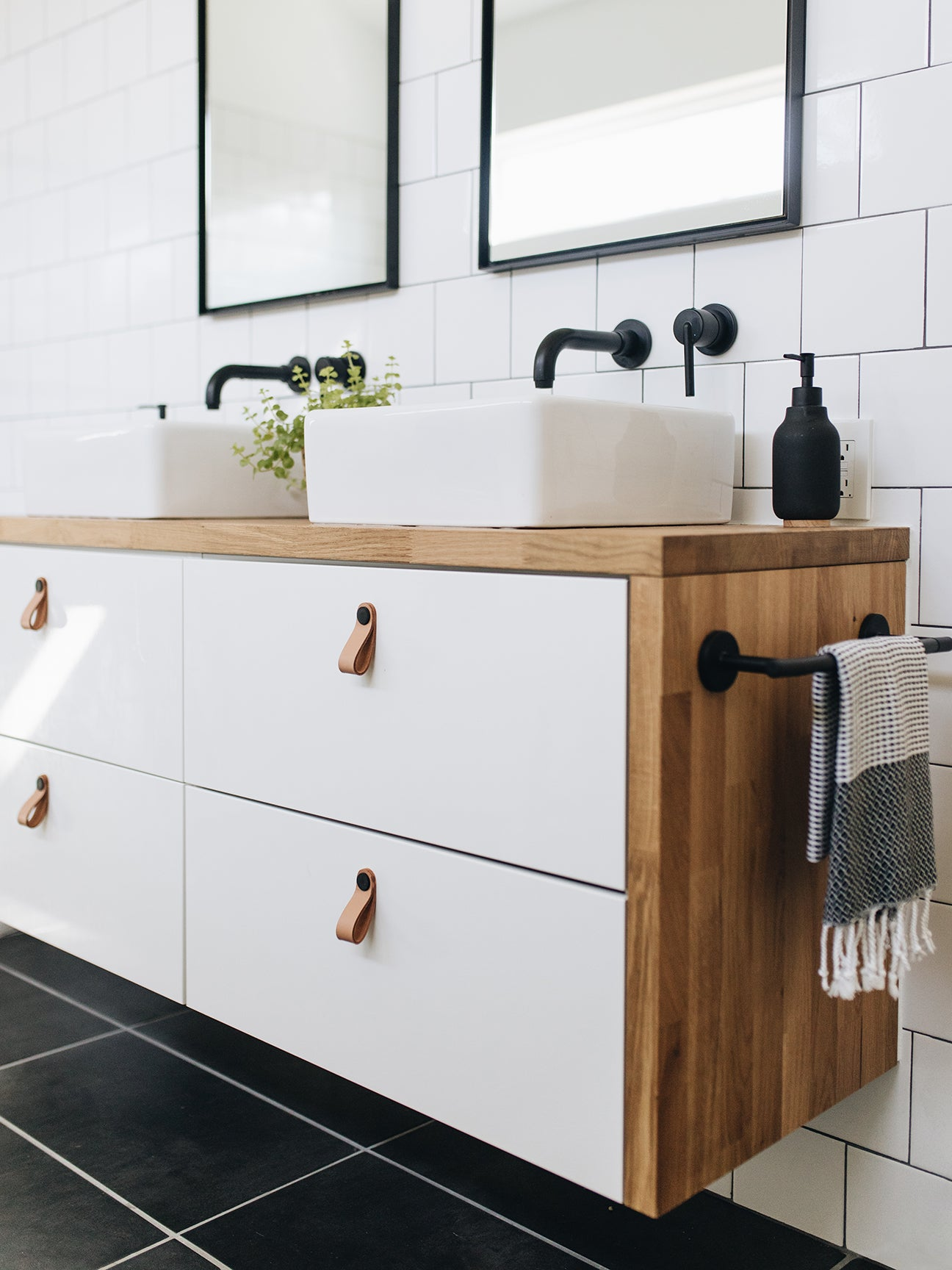 wood and white double sink vanity