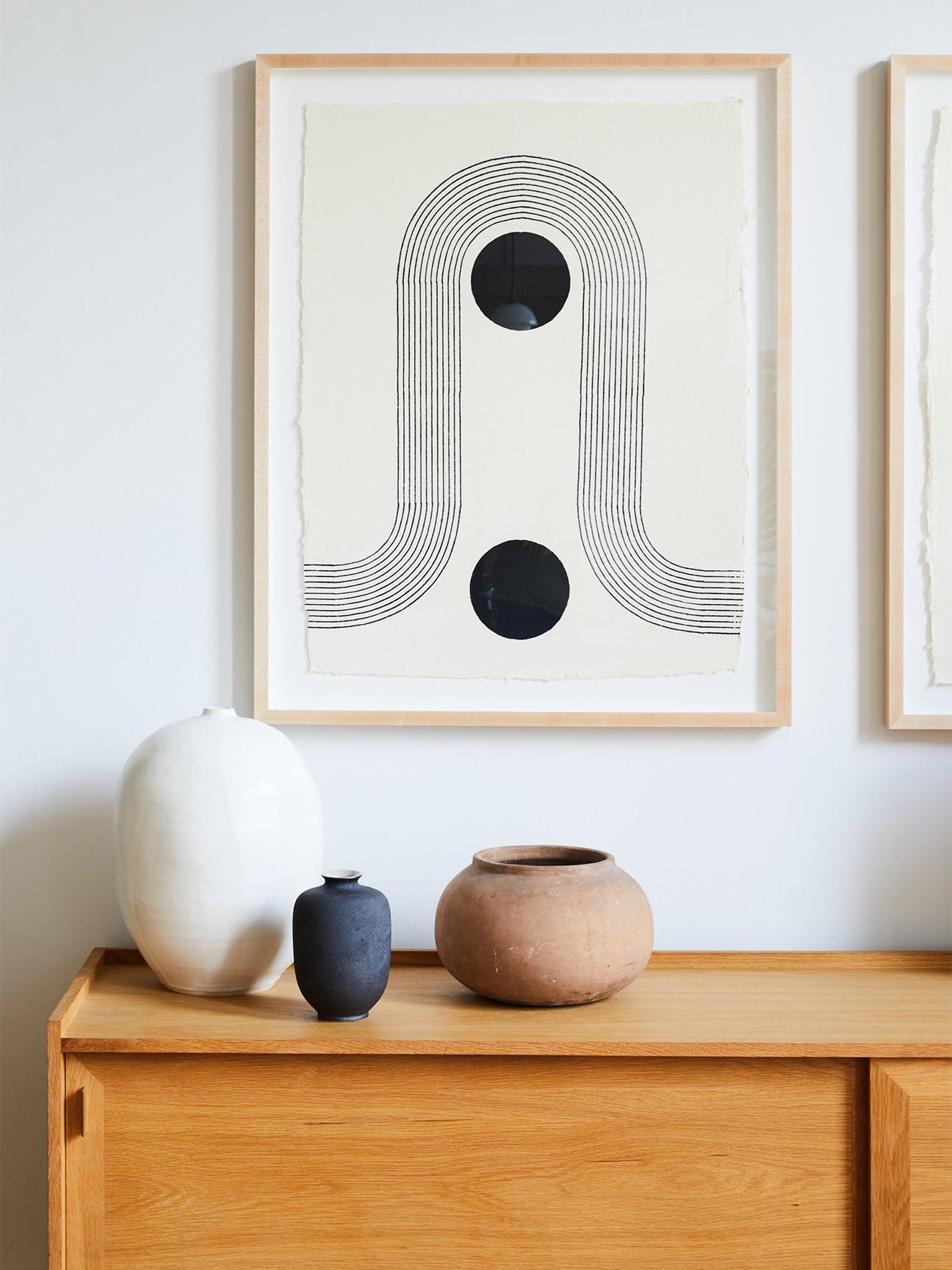 dresser with vases