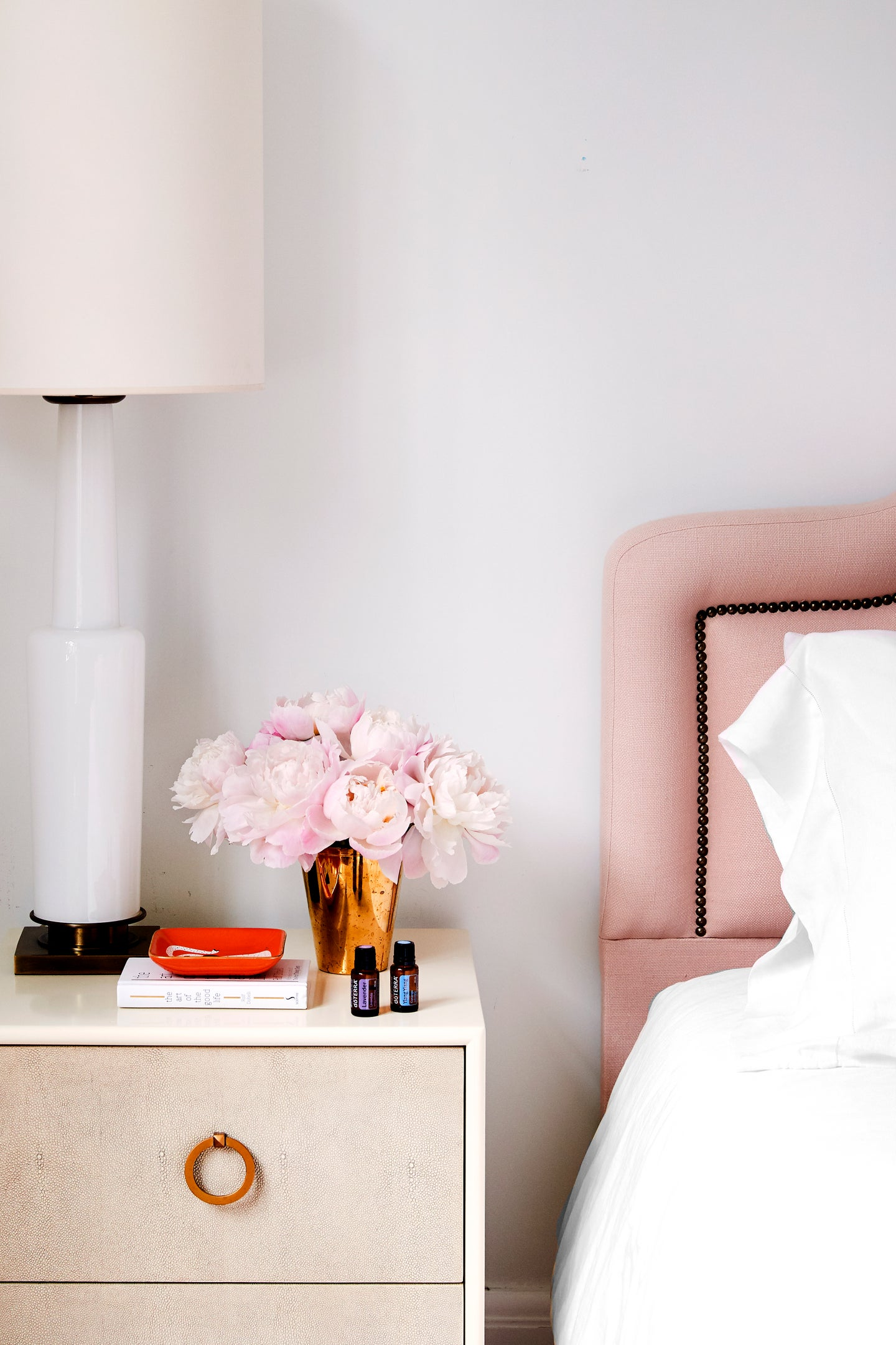 Pink bedroom with flowers