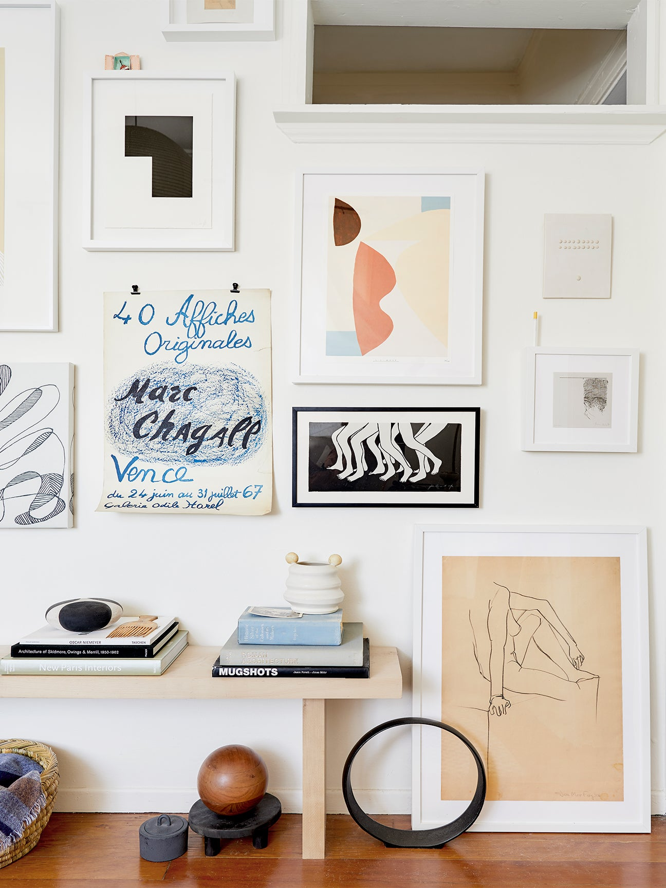 entryway gallery wall with bench