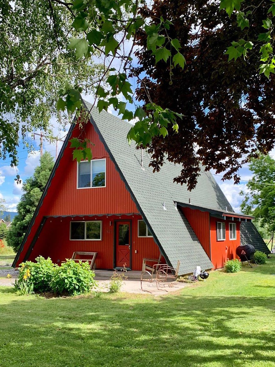 Red a-frame cabin