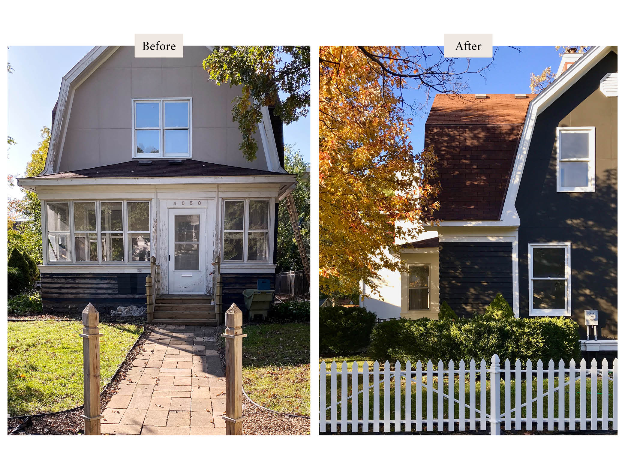 before and after photos of a tan and black house