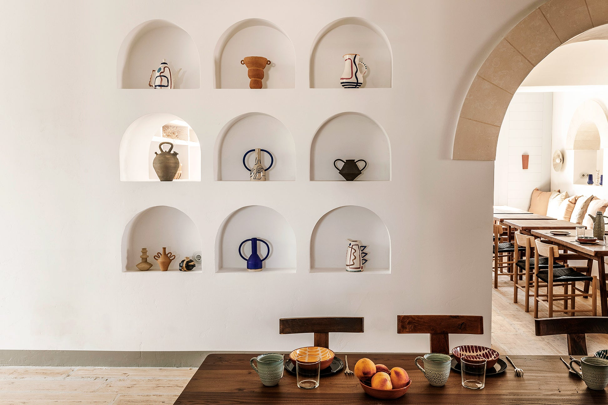 wall niches filled with vases