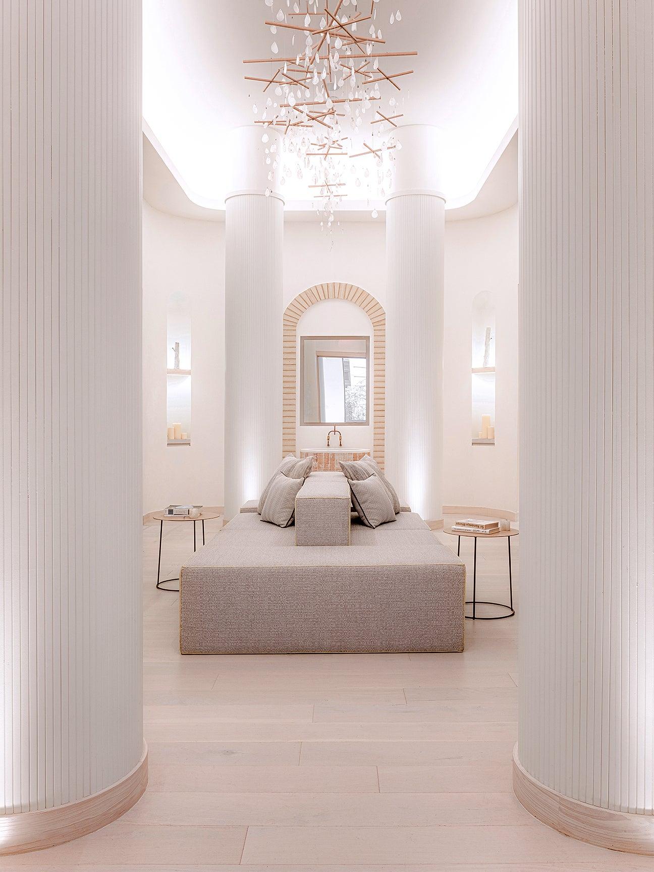 Sleek white lounge area