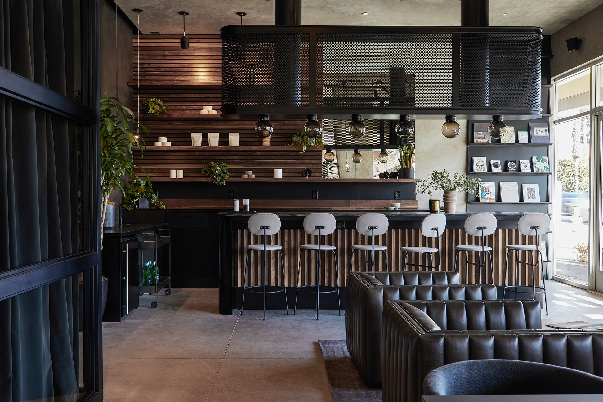 Chic wood-toned bar