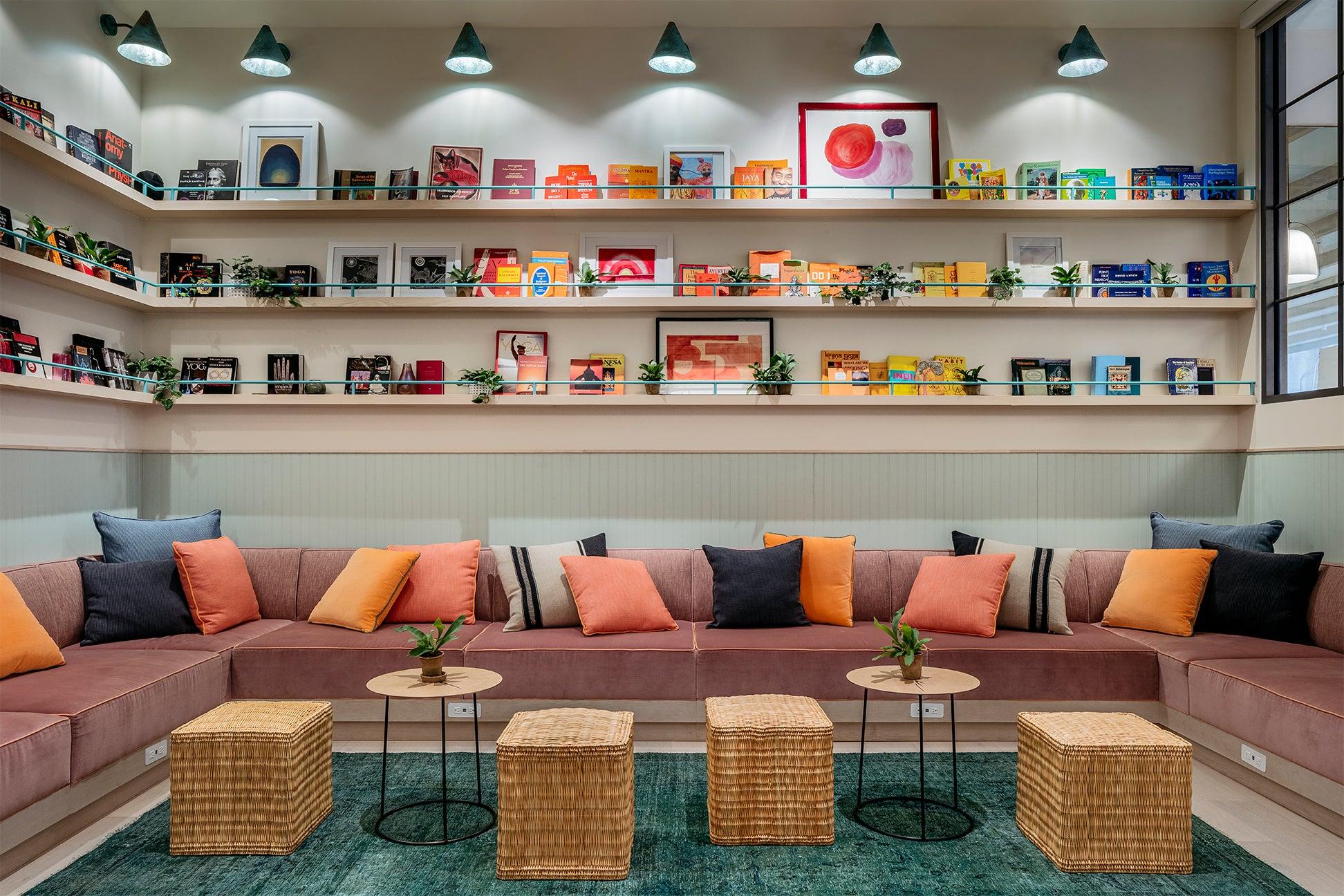 Colorful lounge area