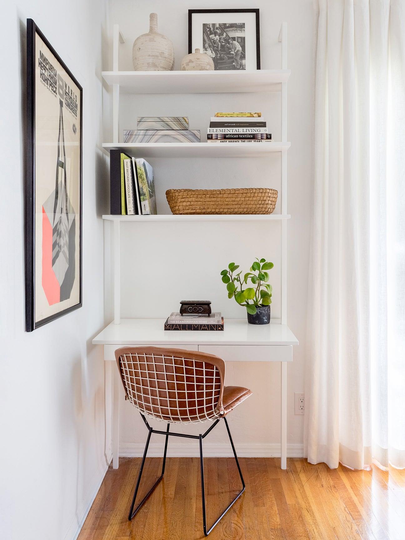built in white desk with shelves