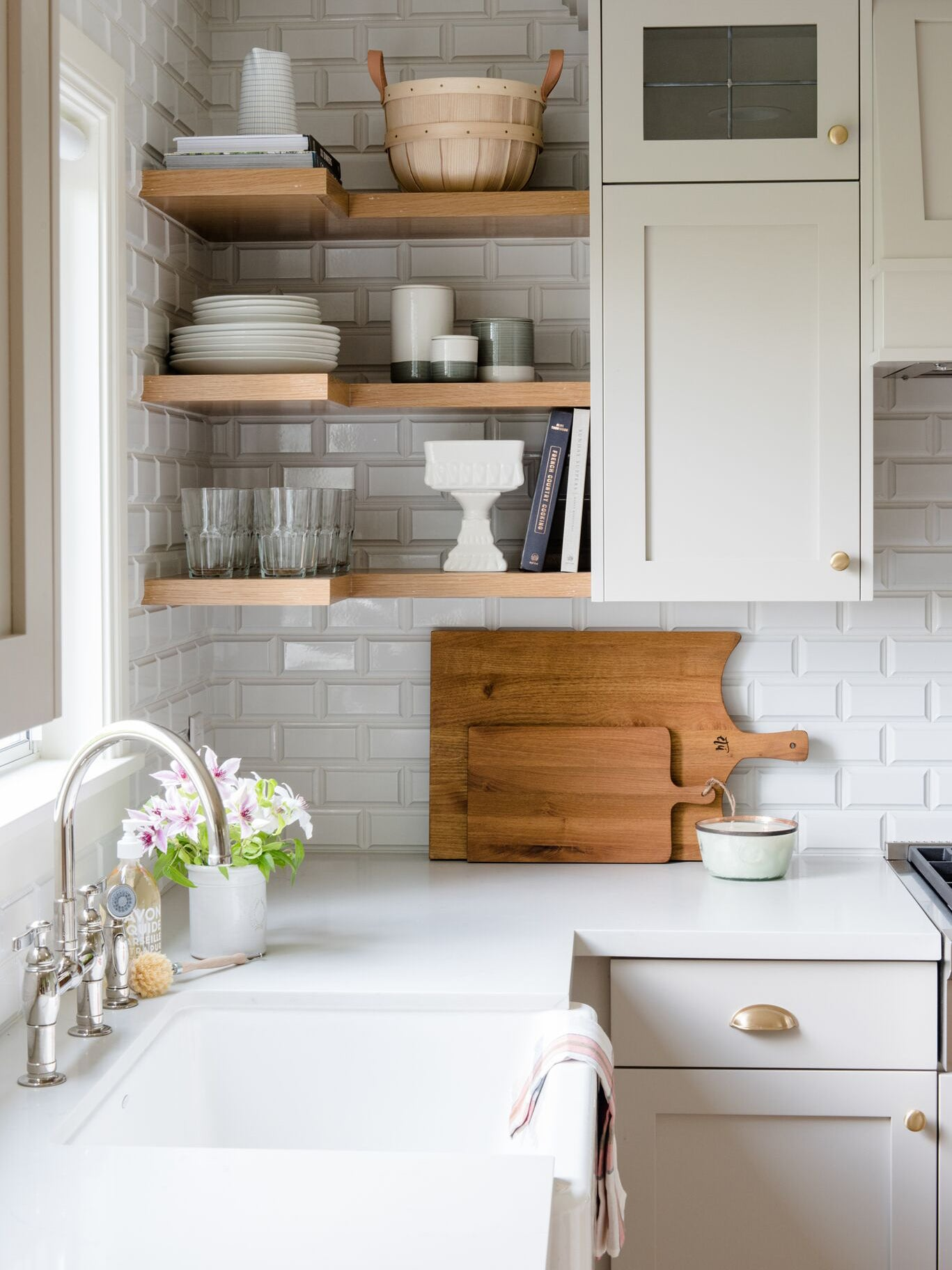 warm gray kitchen with a farmhouse sink