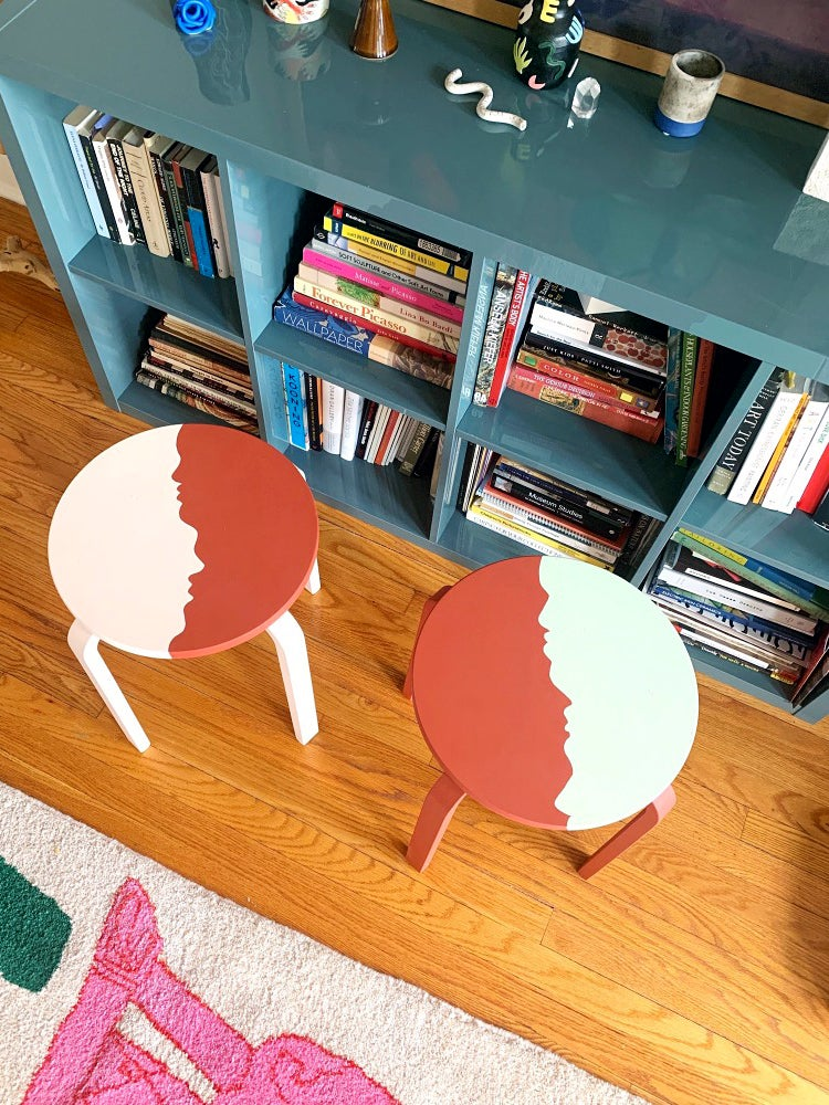 painted stools with faces