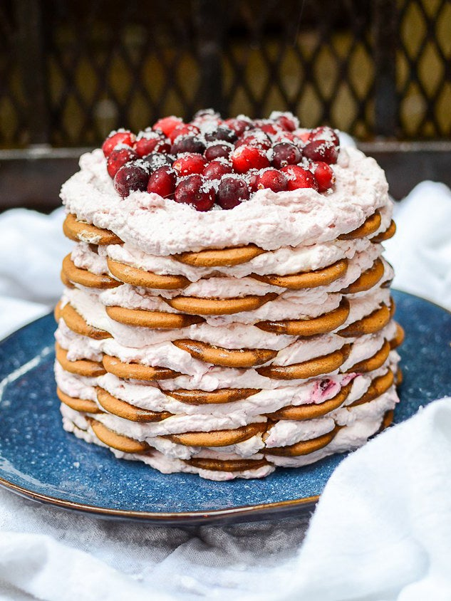 gingersnap icebox cake with cranberry topping