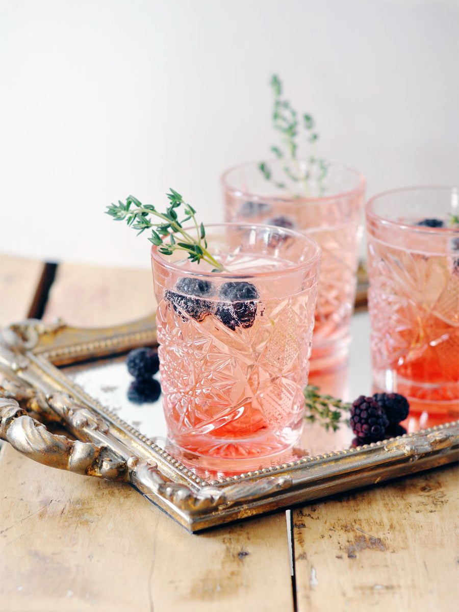 pink drink with blue berries