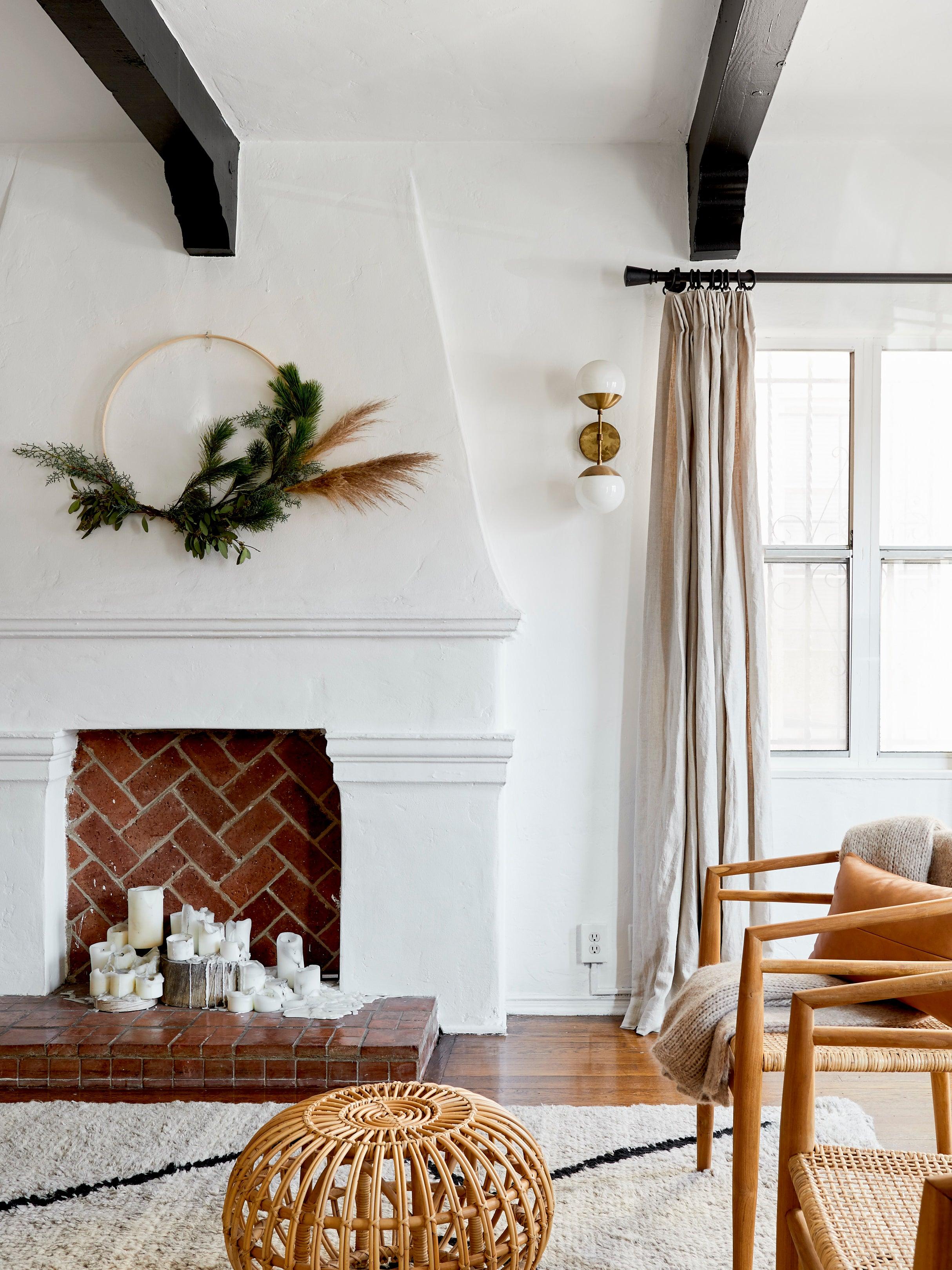 asymmetrical wreath over the mantel