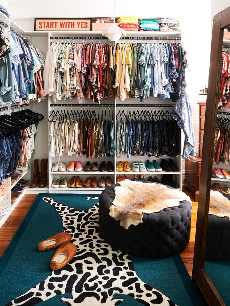 tiger rug in a closet