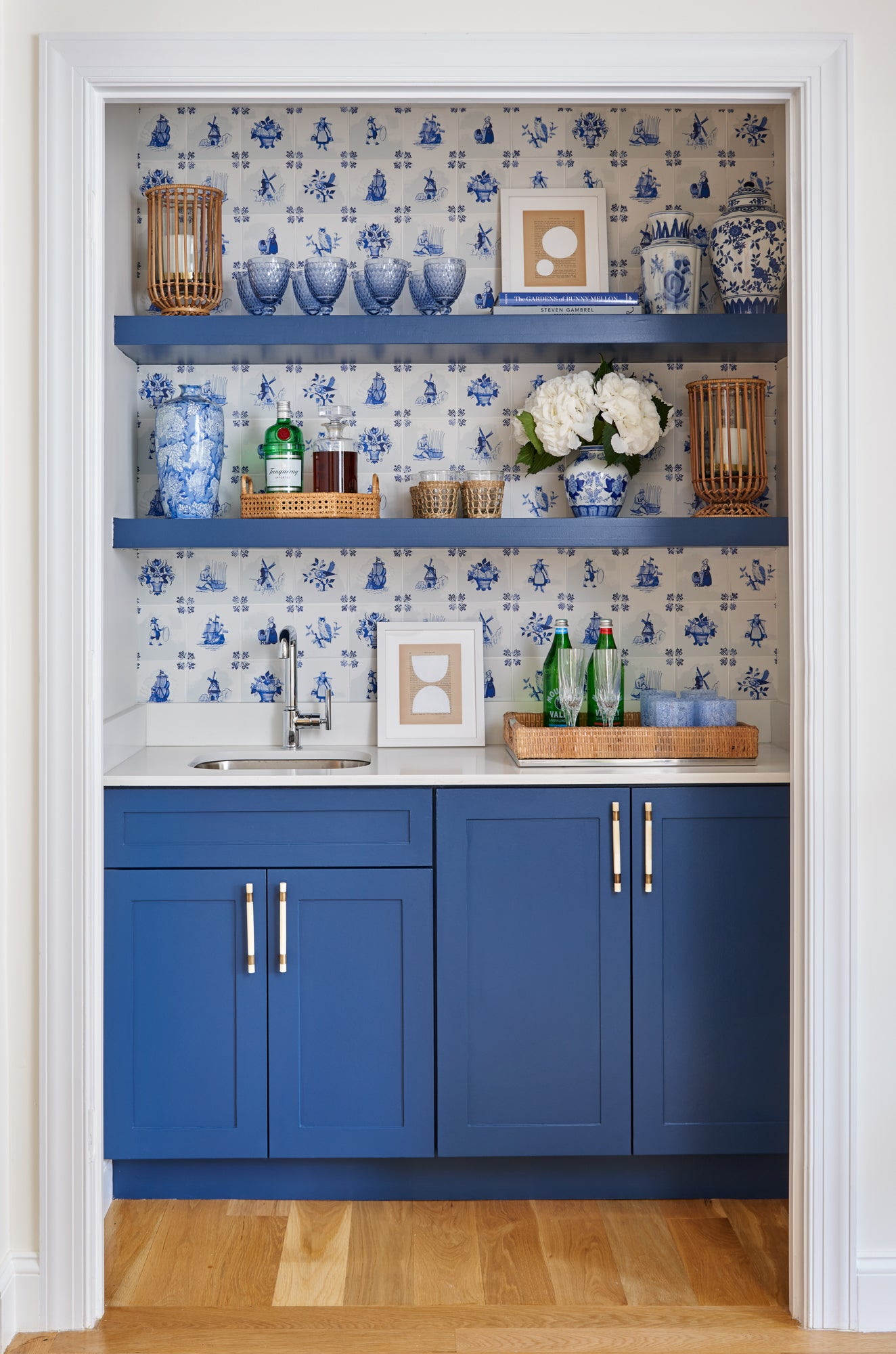 blue kitchen pantry nook with wallpaper
