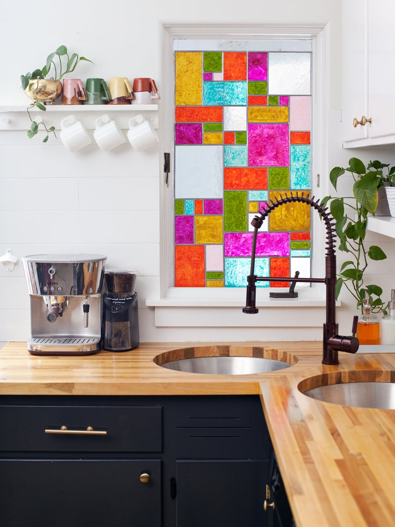 kitchen with stained glass colorful panel