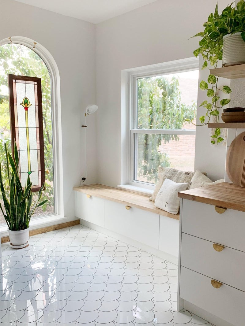 white kitchen stained glass window