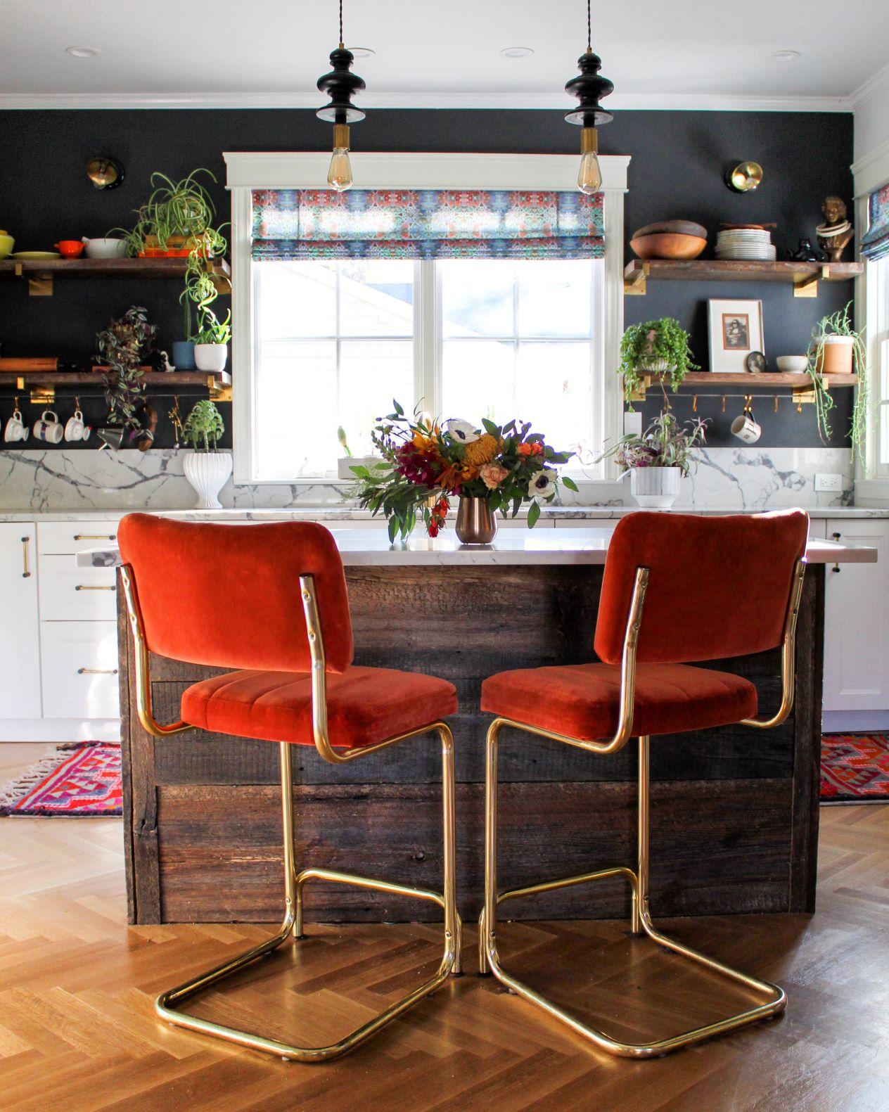 velvet red bar stools