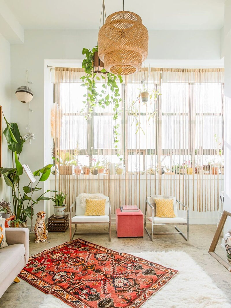 boho living room with big windows