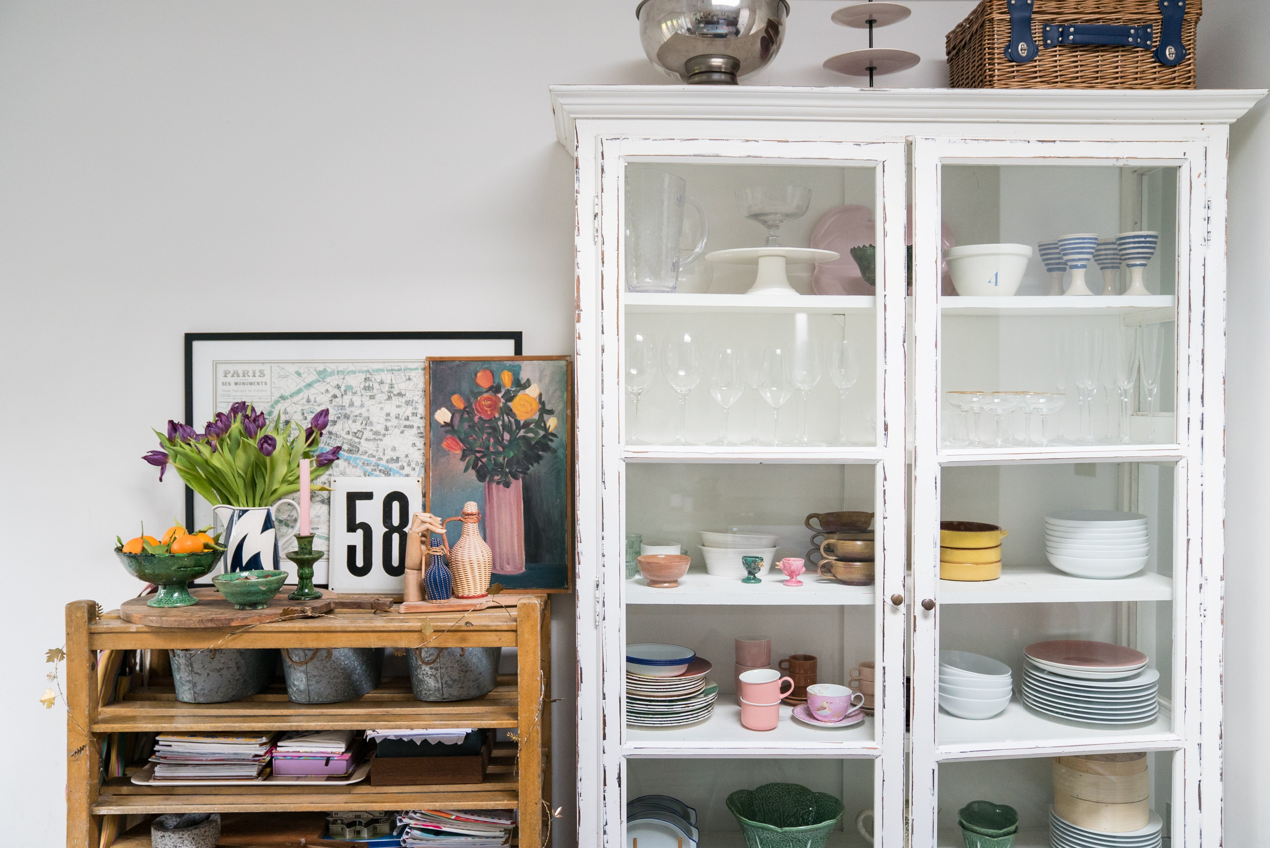 Antique glass cabinets with vintage finds