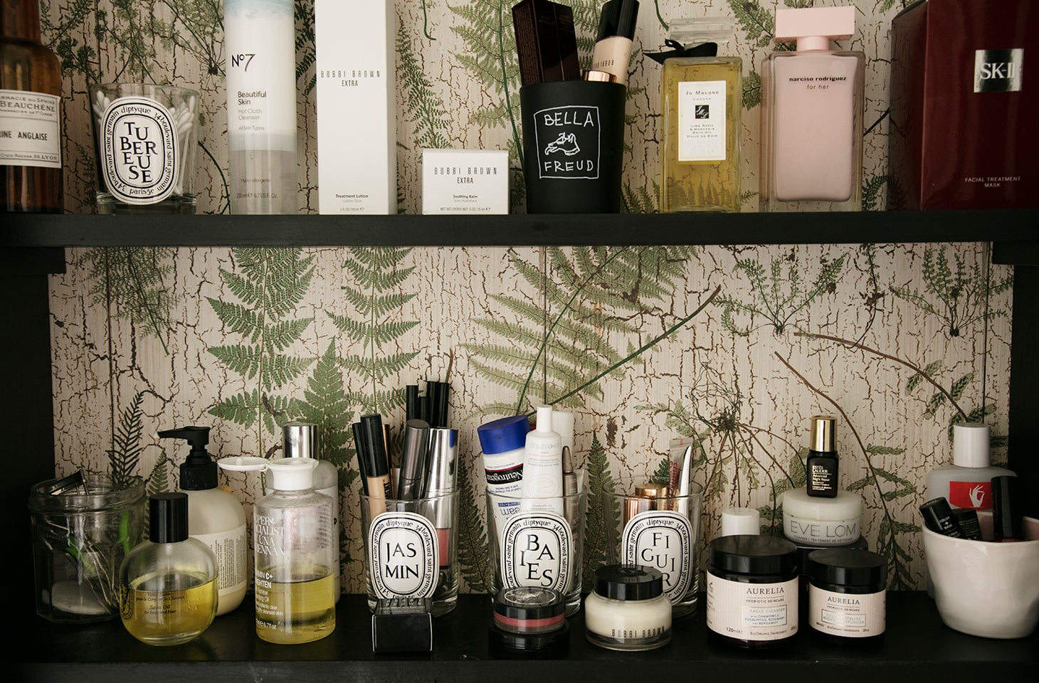 Medicine cabinet with luxury beauty products