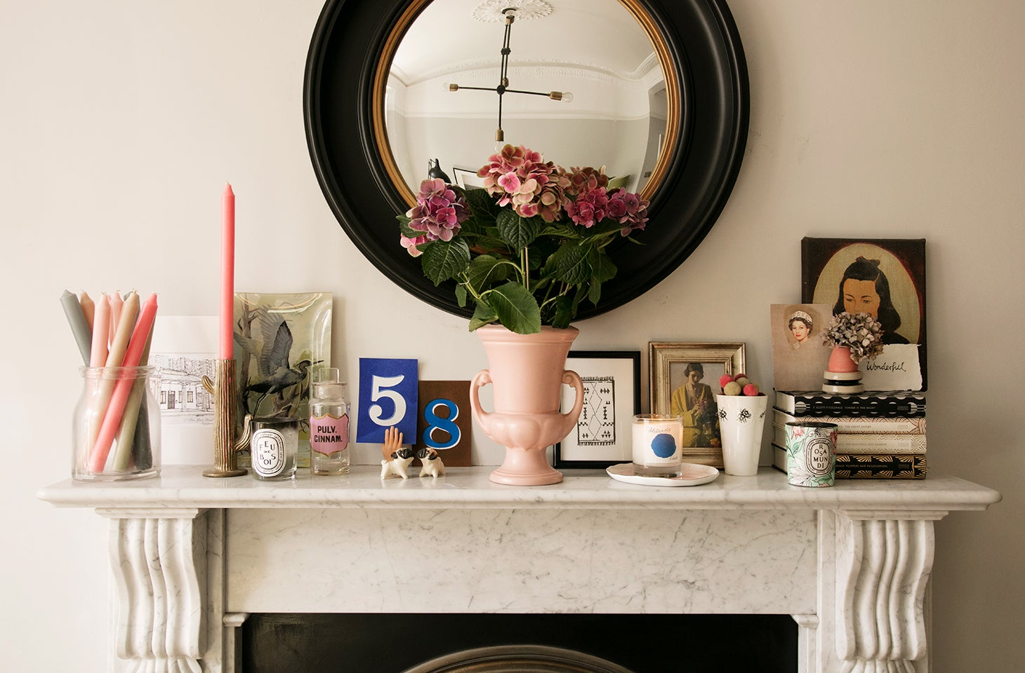 Marble mantel with vintage finds