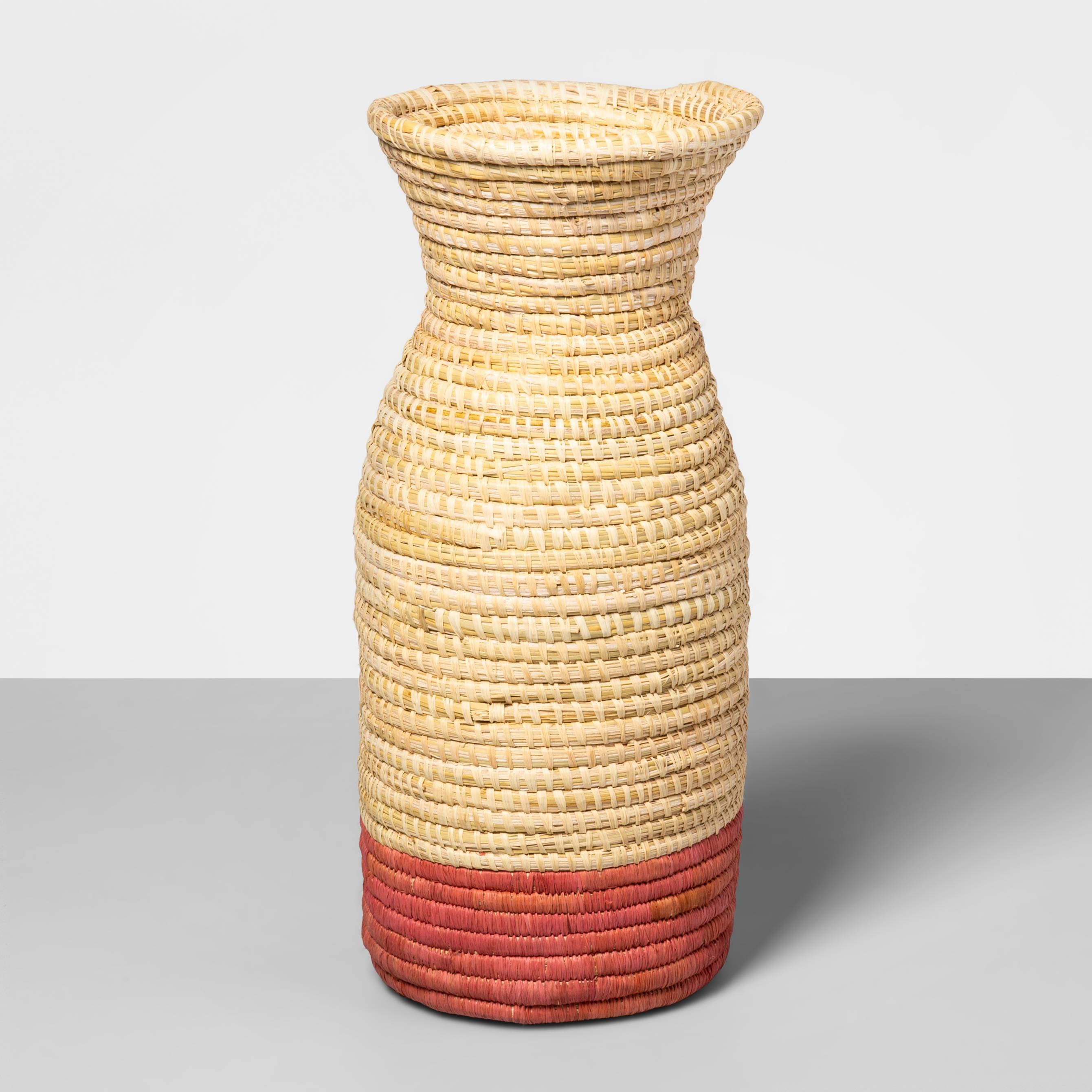 woven vase with pink base