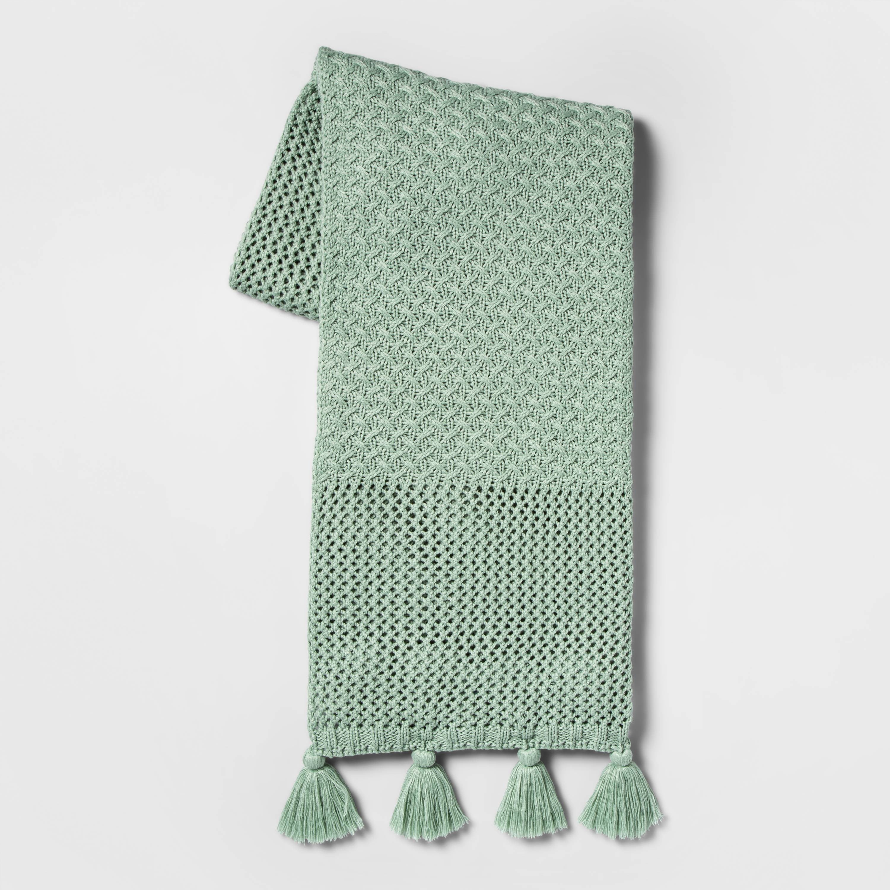 mint green throw blanket