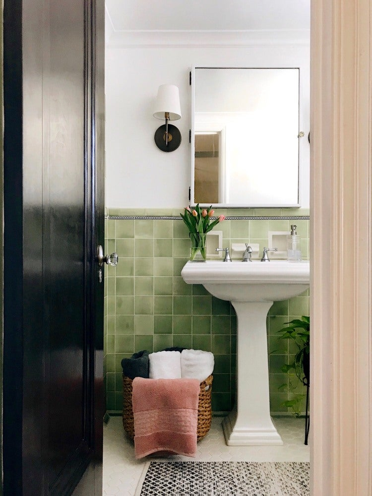 How One Couple Upgraded the Floor in Their 47-Square-Foot Bath Themselves
