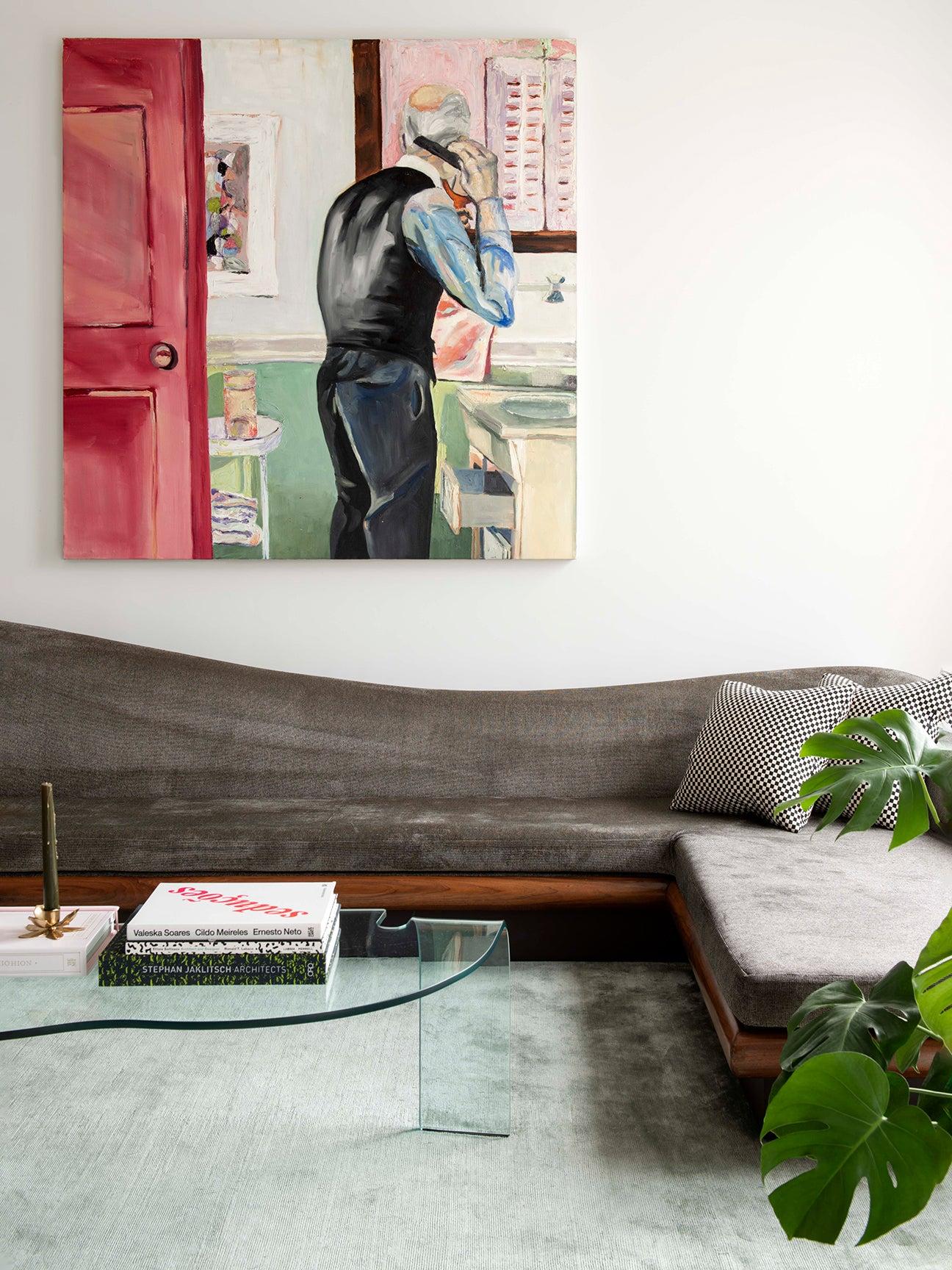 Living room with wavy gray velvet sectional