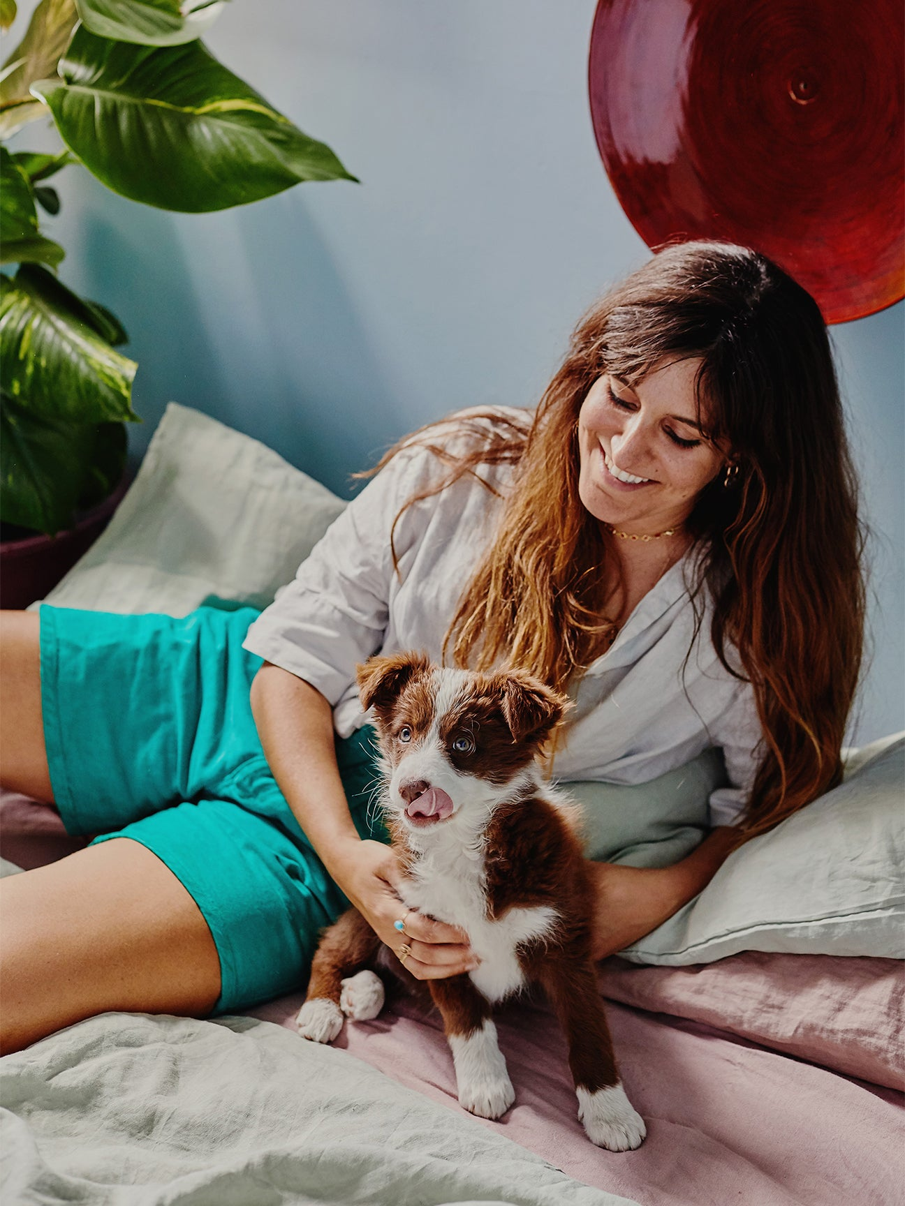 Plant Mama and her pup at home