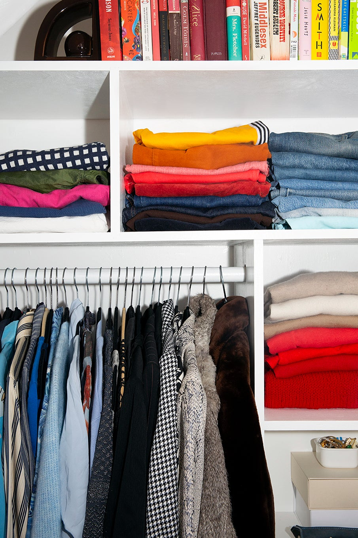Colorful organized closet