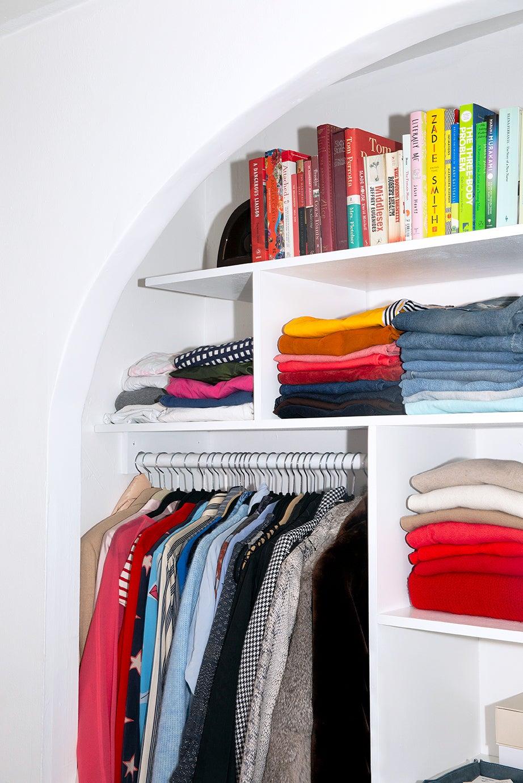 Organized closet detail