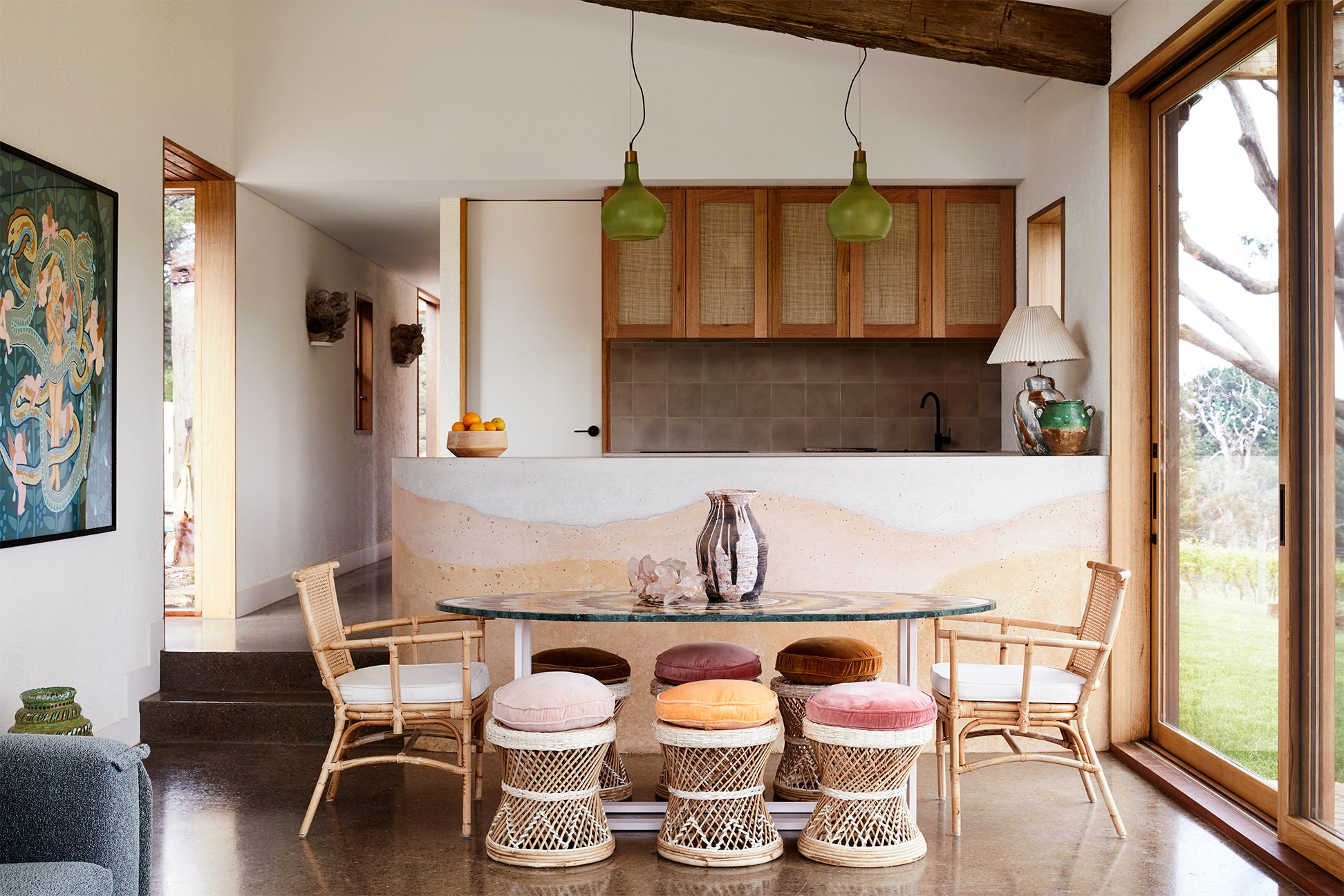 Kitchen with ombre island