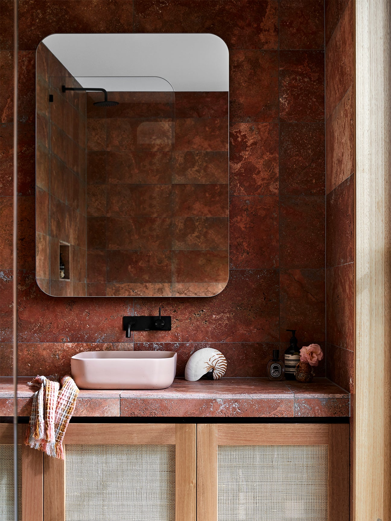 Bathroom with terra cotta tile