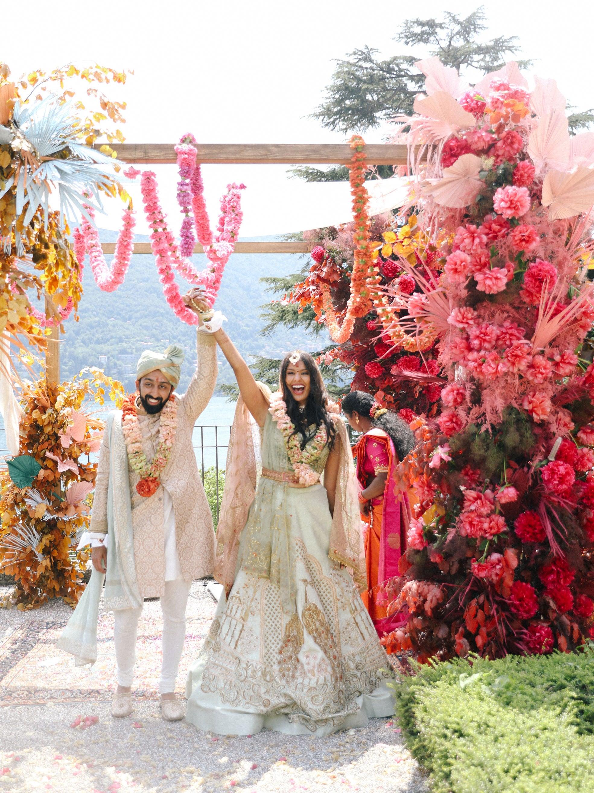 Indian wedding Lake Como colorful altar