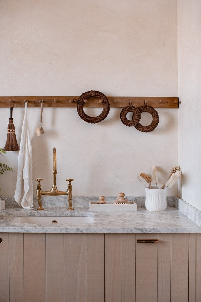 marble countertop with pink walls