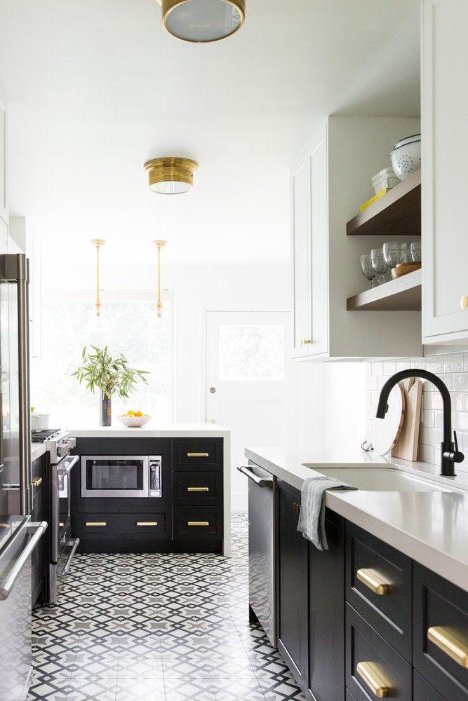 galley kitchen black and white