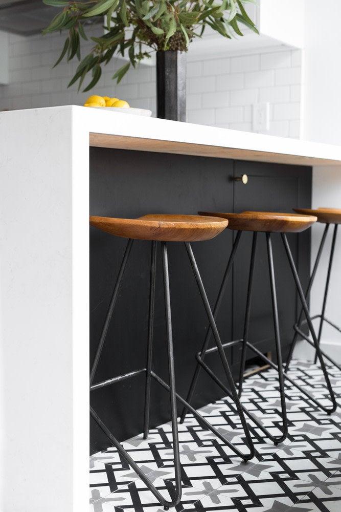 black bar with stools