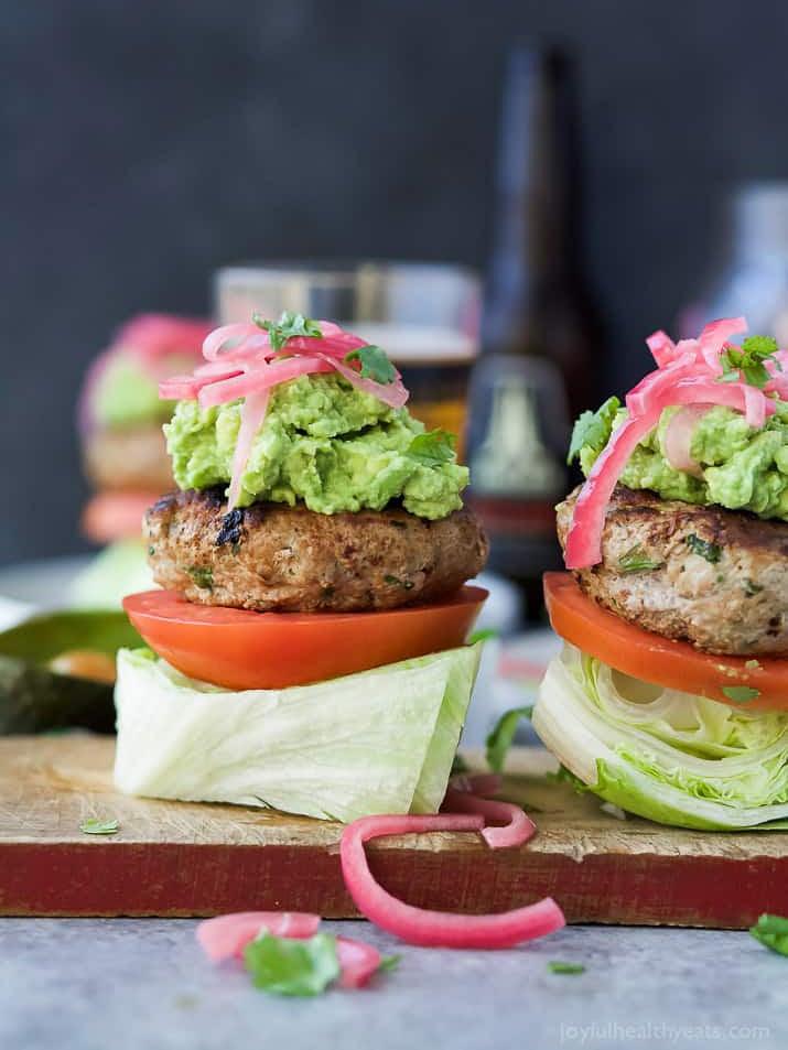 open face burger on lettuce