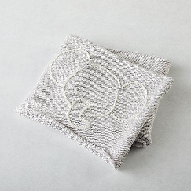 Comfy Critter Grey Elephant Stroller Blanket